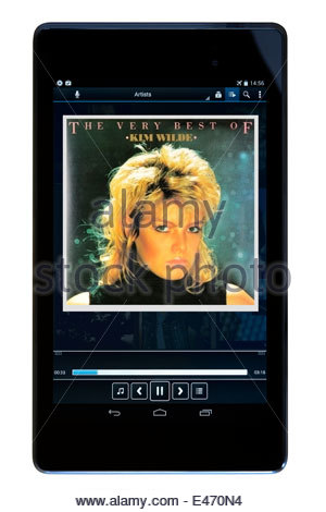 Kim Wilde album The Very Best Of, MP3 album art on PC tablet, England - Stock Photo