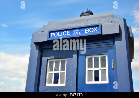 Chatham, Kent, England, UK. Chatham Historic Dockyard - Police Public Call Box ('Tardis') outside the police museum - Stock Photo