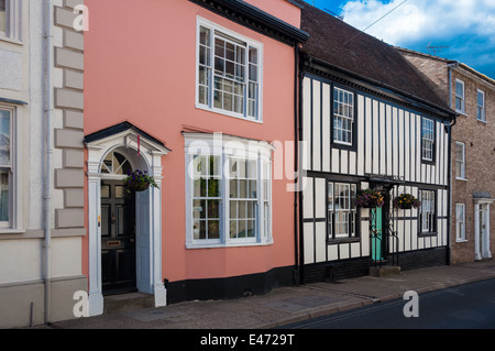 Row of traditional English country cottages - Stock Photo