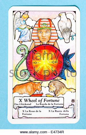 Wheel of Fortune tarot card from the Hanson Roberts tarot deck - Stock Photo