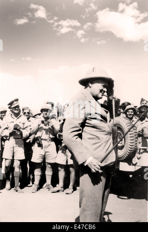 Winston Churchill visiting allied soldiers at Tel-el-Kebir 9 August 1942 World War Two 2  ii Egypt - Stock Photo