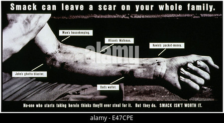 'Smack can leave a scar on your whole family.' Part of the 'Smack Isn't Worth It' drug awareness campaign 1987. - Stock Photo