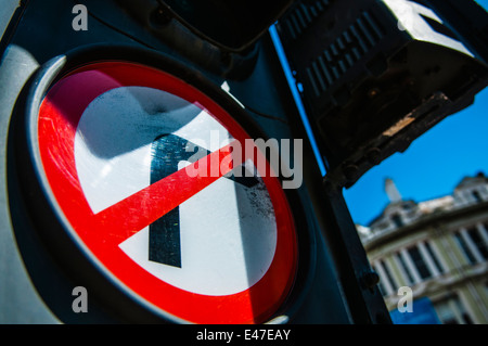 No Right Turn on a set of traffic lights - Stock Photo