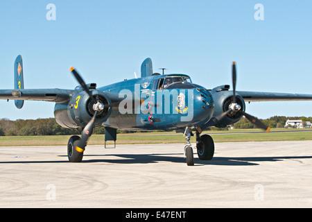 Commemorative Air Force B25 B-25 Mitchell medium bomber US Marine Corps PBJ version named Devil Dog - Stock Photo