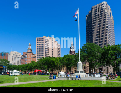 View from The Green looking toward offices along Church Street in downtown New Haven, Connecticut, USA - Stock Photo