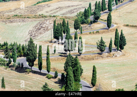 Winding road near Siena in Crete Senesi Tuscany, in a late summer afternoon - Stock Photo