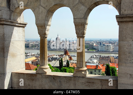 View of River Danube and Parliament from Fisherman's Bastion on Gellert Hill in Budapest, Hungary - Stock Photo