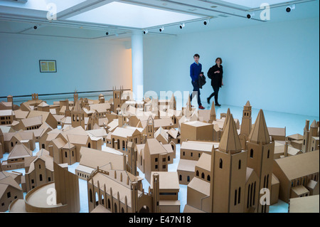 Tourists view 'Generation - 286 Places of Worship in Edinburgh' by Nathan Coley, in Gallery of Modern Art GoMA, - Stock Photo