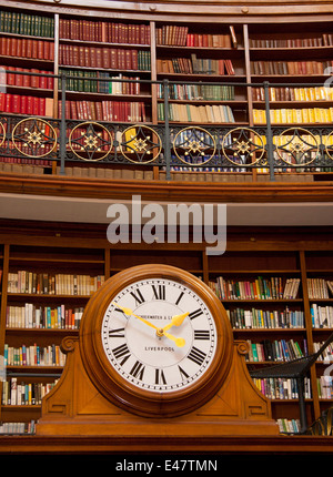 Clock in the Picton Reading Room, Central Library, Liverpool.  It sits over the door leading to the Hornby Library. - Stock Photo