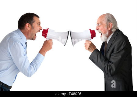business conflict concept - businessman and senior male manager with megaphones or bullhorns on white - Stock Photo