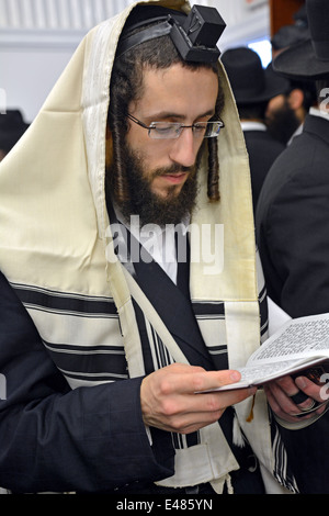 Religious Jewish man in fervent prayer at the Ohel, the burial place of the Lubavitcher Rebbe in Cambria Heights, - Stock Photo