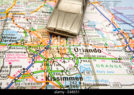 Model sedan on a road map of Seattle WA Stock Photo Royalty Free