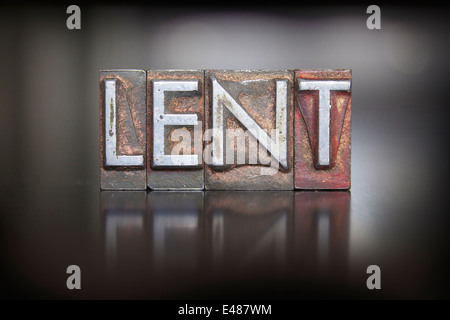 The word LENT written in vintage lead letterpress type - Stock Photo