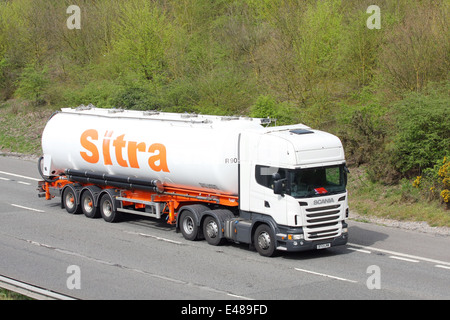 A Sitra articulated tanker traveling along the m20 motorway in Kent, England - Stock Photo