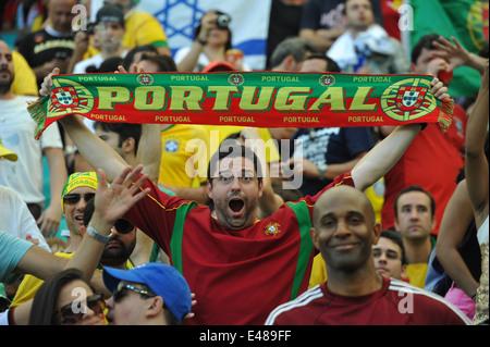 WM 2014, Salvador da Bahia, portugiesische Fans, Deutschland vs. Portugal. Editorial use only. - Stock Photo