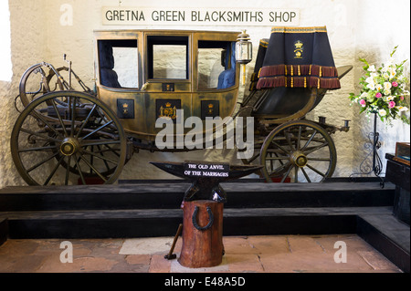 Famous Gretna Green Blacksmith's Shop used for eloping couples and weddings under Scottish licence on the border - Stock Photo