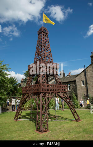 Impressive wooden Eiffel Tower model built to celebrate Le Tour in Yorkshire, is central feature of private garden, - Stock Photo