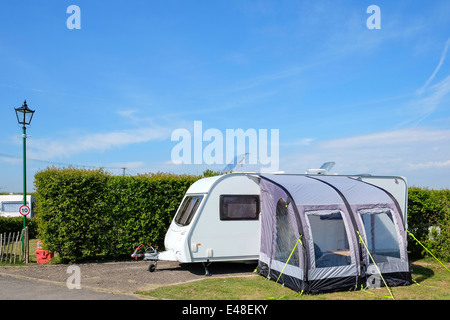 Mobile Home Camping Vehicle Trailer Car Tent Summer Holiday Vacations Park Travel Destinations Field Grass A Touring Caravan