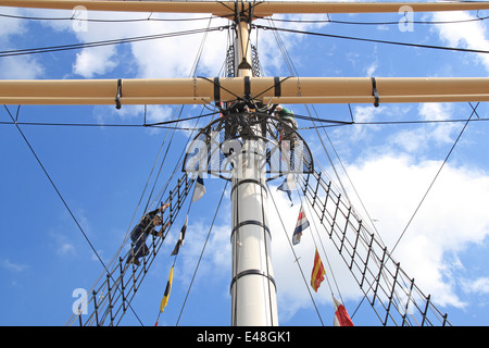 Climbing the main mast rigging, SS Great Britain, Bristol Docks, England, Great Britain, United Kingdom, UK, Europe - Stock Photo