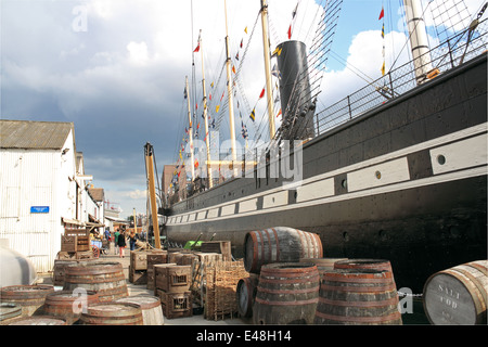 Provisions on quayside of SS Great Britain, Bristol Docks, England, Great Britain, United Kingdom, UK, Europe - Stock Photo