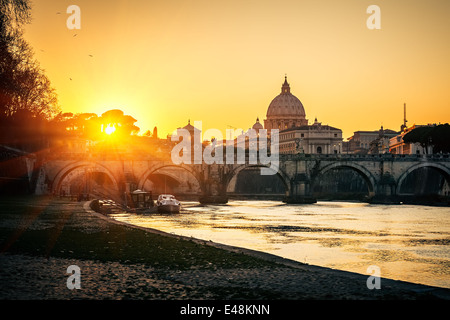 St. Peter's cathedral at sunset, Rome - Stock Photo