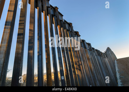 US Border Fence, east of Nogales Arizona USA, constructed autumn and winter of 2008, viewed from US side - Stock Photo