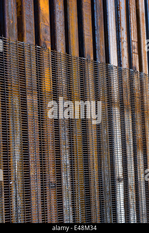 Detail of US border fence in Nogales Arizona USA - Stock Photo