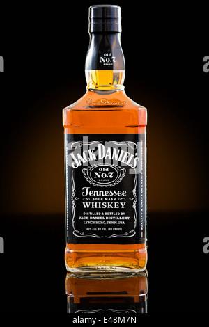 Jack Daniel's whiskey bottle - Stock Photo