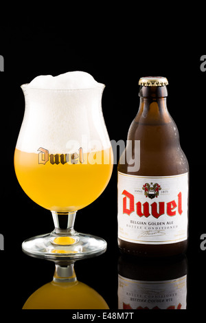 Duvel beer bottle and glass - Stock Photo