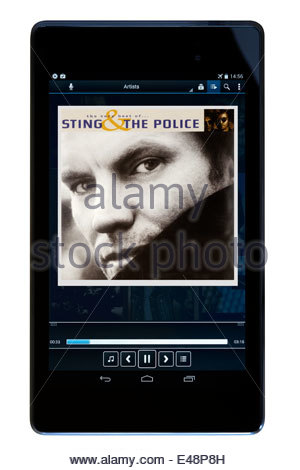 Sting & The Police MP3 album art on PC tablet, England - Stock Photo