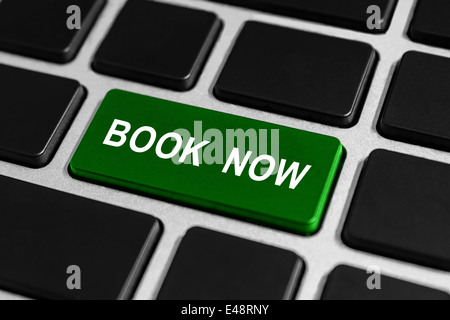 book now green button on keyboard, business concept - Stock Photo