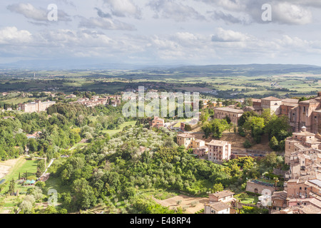 The view over the rooftops of Siena from Torre del Mangia. - Stock Photo
