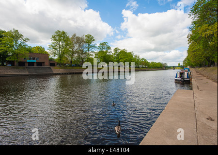 View down large river ouse running through center of York in England - Stock Photo