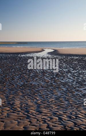 Low tide on Suedstrand beach, Borkum, East Frisian Islands, East Frisia, Lower Saxony, Germany, Europe - Stock Photo