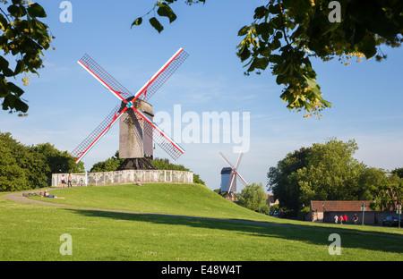 BRUGES, BELGIUM - JUNE 12, 2014: Wind-mill Koeleweimolen and Sint Janshuismolen - Stock Photo