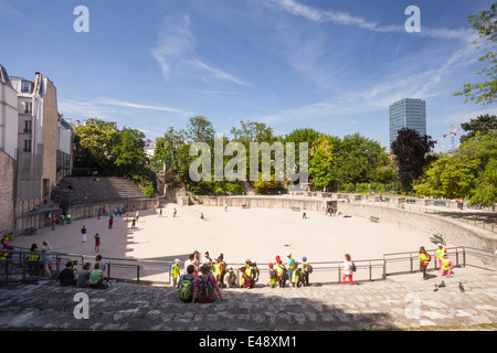 Arenes de Lutece in Paris. They are among the most important remains from the Gallo-Roman era in the city. - Stock Photo