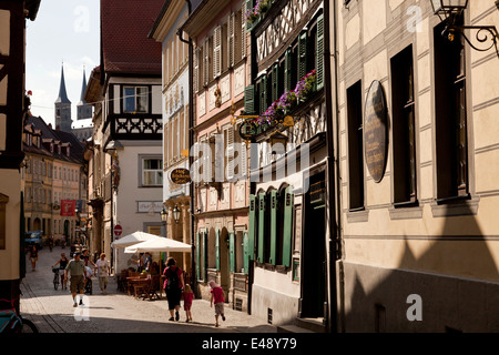 historic city center in Bamberg, Upper Franconia, Bavaria, Germany, Europe - Stock Photo