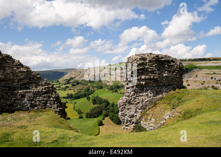 View to Creigiau Eglwyseg limestone escarpment from 13th century Castell Dinas Bran castle ruins on a hilltop. Llangollen - Stock Photo
