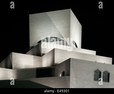 museum of islamic art in doha qatar at night - Stock Photo