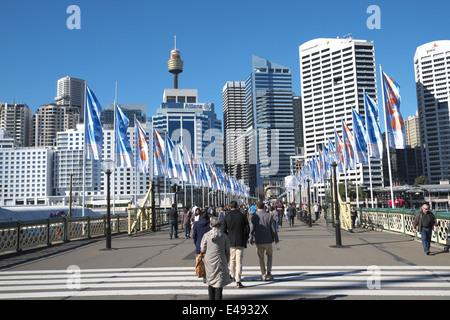 Pyrmont bridge Darling Harbour an Sydney central business district, Sydney,New south wales,australia - Stock Photo