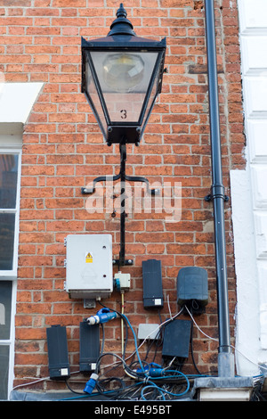 Installations and electrical wiring for street lighting - Stock Photo
