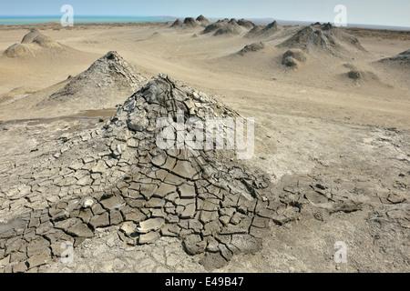 Mud volcanoes, Qobustan, Abseron Peninsula, Azerbaijan - Stock Photo