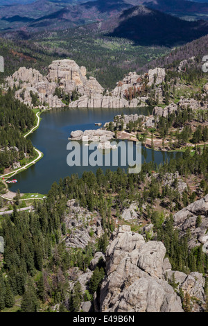 Aerial view of sylvan lake and granite formations in the Black Hills - Stock Photo