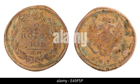 Old copper Russian coin on white background. Clipping Path - Stock Photo