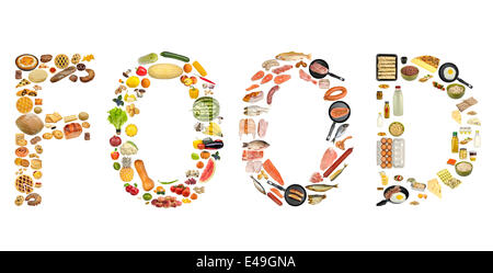 food isolated on white background - Stock Photo