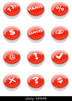 set of red buttons with a caution sign - Stock Photo