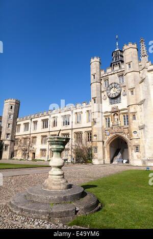 The Great Court, Trinity College, Cambridge, Cambridgeshire, England, United Kingdom, Europe - Stock Photo