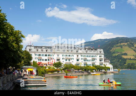 Grand Hotel on Lake Zell am See, Pinzgau, Salzkammergut, Austria, Europe - Stock Photo