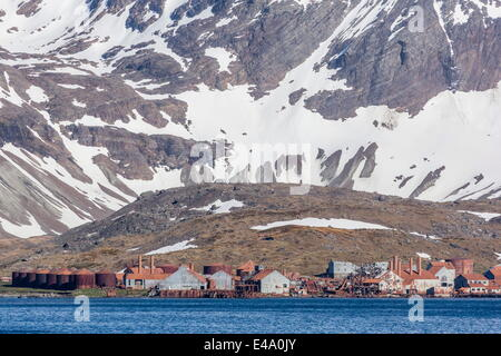 Remains of Christian Salvesen and Co. Ltd. whaling station at Leith Harbour, South Georgia, UK Overseas Protectorate - Stock Photo