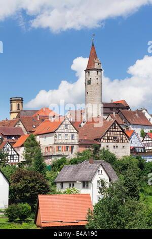 Stadtturm Tower, Half Timbered Houses, Kirchberg an der Jagst, Hohenlohe Region, Baden Wurttemberg, Germany - Stock Photo